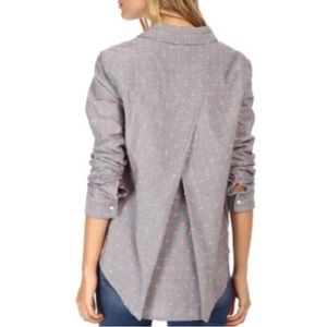 Splendid Chambray Button Down Pink Detail Shirt